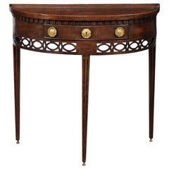 English 1860s Oak Demilune Table with Drawer, Tapered Legs and Pierced Motifs