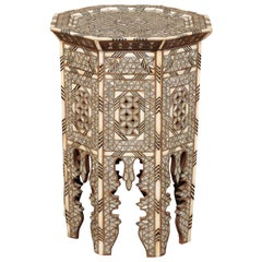 Syrian Moorish Style Hexagonal Side Table with Mother of Pearl and Bone Inlay