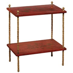 Maison Jansen Style Midcentury Tiered Side Table with Red Chinoiserie Décor