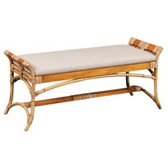 English Vintage Bamboo Midcentury Bench with New Upholstery and Arched Supports