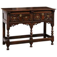 English 1870s Oak Dresser Base with Carved Geometric Front and Two Drawers