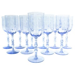 Vintage Etched Crystal Wine / Water Glassware Set