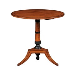 Austrian Biedermeier 1860s Walnut Pedestal Guéridon Table with Ebonized Accents