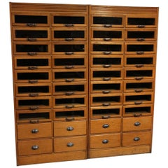Vintage English Shop Cabinet or Display Case with 40 Drawers