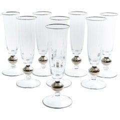 Art Deco Barware Crystal Champagne Flute Set Eight Pieces