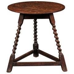 English 1870s Oak Cricket Table with Barley Twist Legs and Side Stretchers