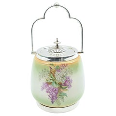 English Porcelain with Silver Plate Covered Ice Bucket