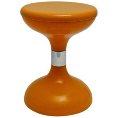 Space Age Orange Plastic Vintage Stool Sgabello Americano, Italy, 1970s