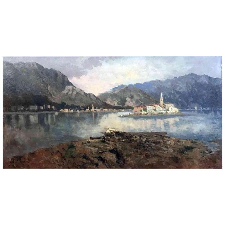 Italian 19th Century large Landscape Painting Lago Maggiore Isola dei Pescatori  For Sale