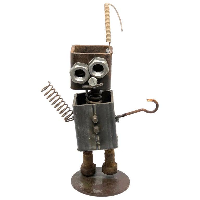 Vintage Handmade Scrap Metal Design Robot Statue German, 1970s For Sale