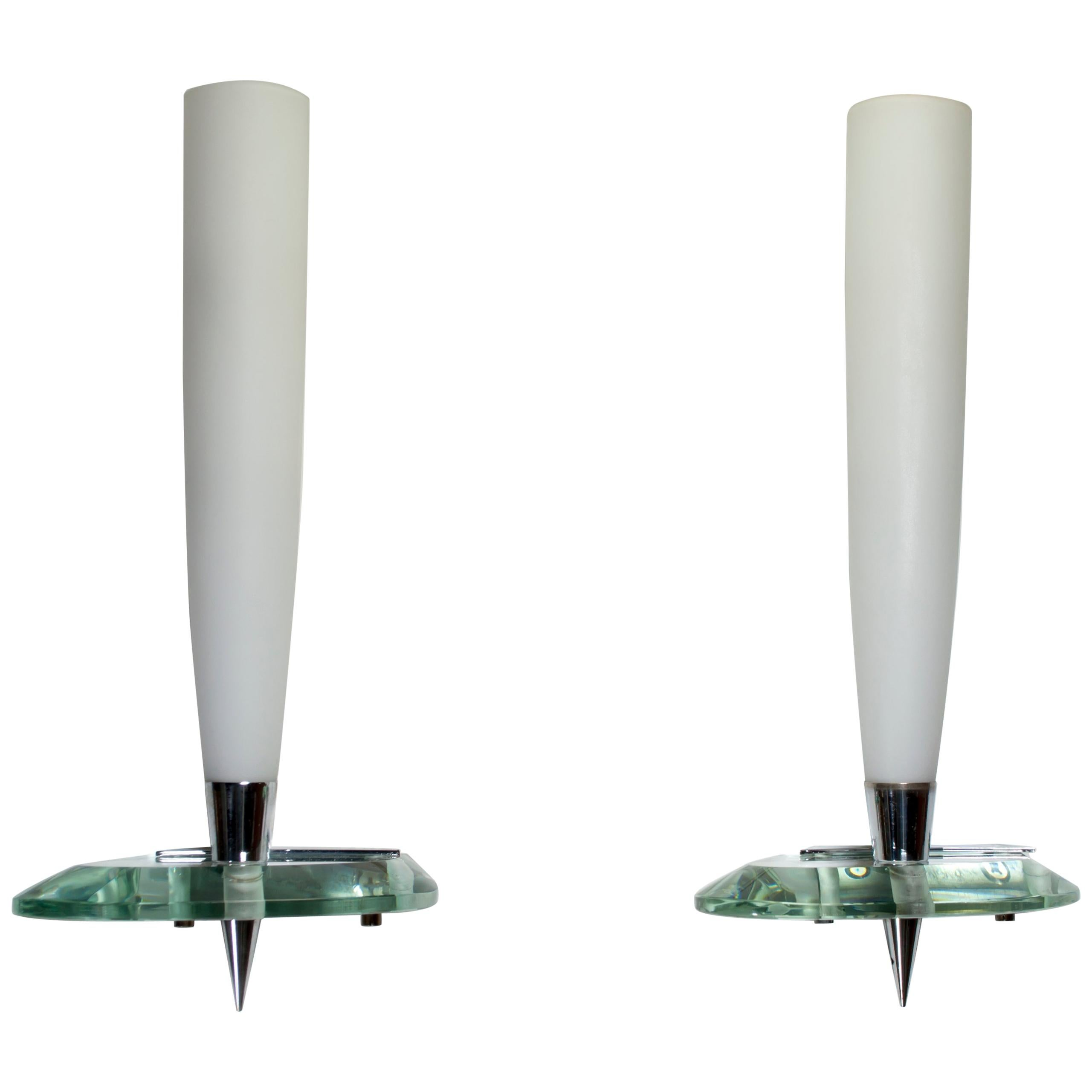 Pair of Max Ingrand Italian Satined Glass Sconces by Fontana Arte, 1950s