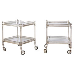 Vintage Pair of Italian Midcentury Silvered and Glass Trolleys with Galleries