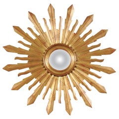 Large Vintage French Midcentury Sunburst with Small Convex Mirror Plate