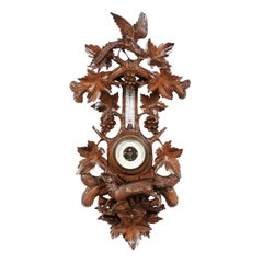 Black Forest 1920s Carved Aneroid Barometer with Foliage, Bird and Fox Motifs
