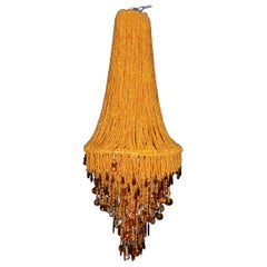 Tall Contemporary Amber Bead and Crystal Chandelier