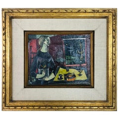 Bernard Rosenquit Genre Cubist Oil on Canvas of Woman with Bird Midcentury