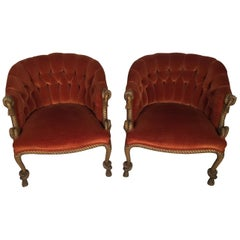 Glamours Pair of Italian Tufted Barrel Back Rope and Tassel Chairs