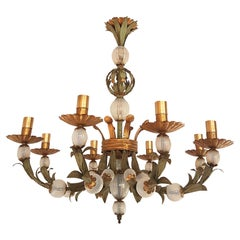 Italian Painted Tole and Murano Opaline Glass Six Lights Chandelier, Early 1900s