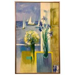 Signed Paul Zimmerman Original Oil Painting Still Life Amethyst Iris and the Sea