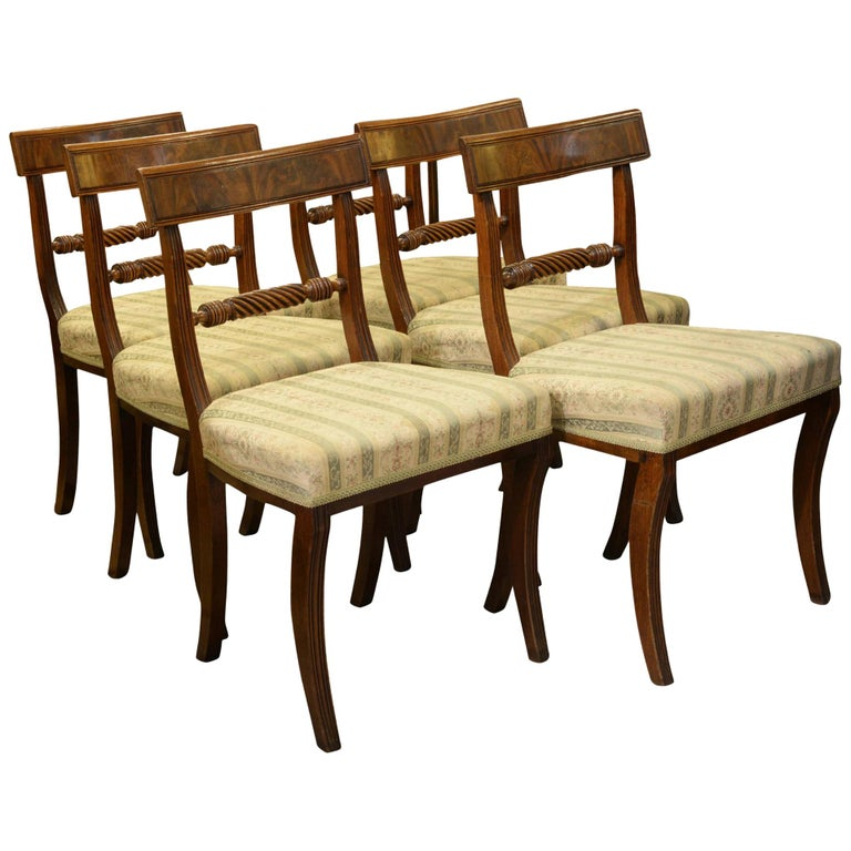 Set of 6 Regency Period Dining Chairs For Sale