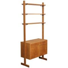 Scandinavian 1960s Oak Freestanding Shelving Piece