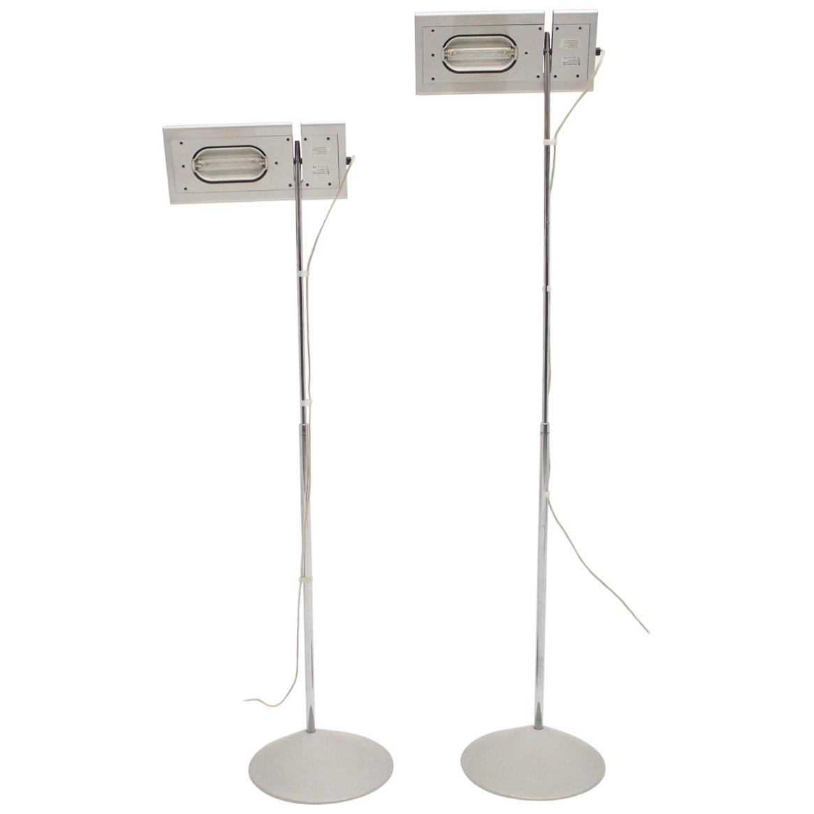 Modern Vintage Grey Floor Lamps Duna Mario Barbaglia Marco Colombo 1980s Italy