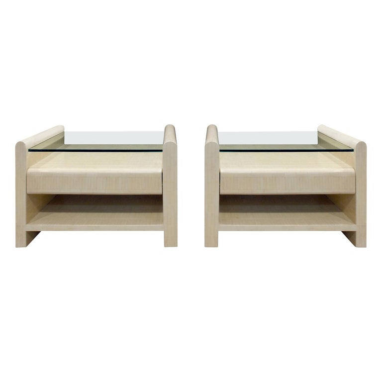 Pair of Bedside Tables in Lacquered Tesselated Bone, 1970s For Sale