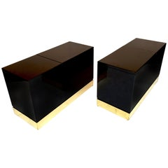 Pair of Lacquered Side Tables Trunk by Jean Claude Mahey, France, 1970s