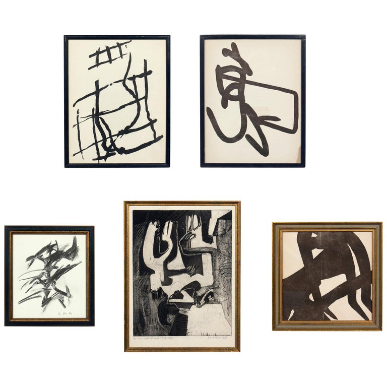 Selection of Black and White Abstract Artwork For Sale