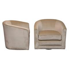 Pair of Velvet Barrel Back Swivel Chairs