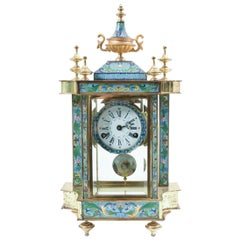Mid-20th Century Brass or Glass Frame Mantel Clock