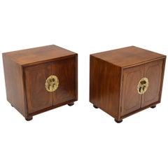 Pair of Mid-Century Modern Two Doors Nightstands by Henredon