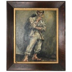 Marion Greenwood Painting Man in Suit and Sandals 1932 Oil on Board
