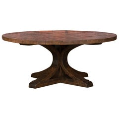Large Round Dining Table Made from Reclaimed Oak