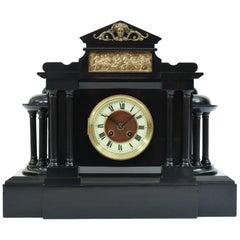 Antique Black Slate Classic Mantel or Desk Clock