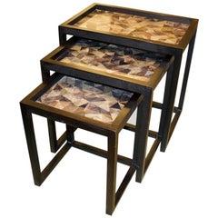 Andrianna Shamaris Gray Toned Coconut Shell Nesting Tables