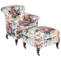 Late 19th Century Howard & Sons Beechwood Club Chair and Ottoman