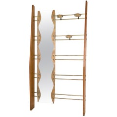 Midcentury Cherry Veneer, Brass and Mirror Coat Rack, Italy, 1950s
