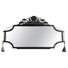 Large & Top Quality French Art Deco Wrought Iron Wall Mirror with Built-In Light