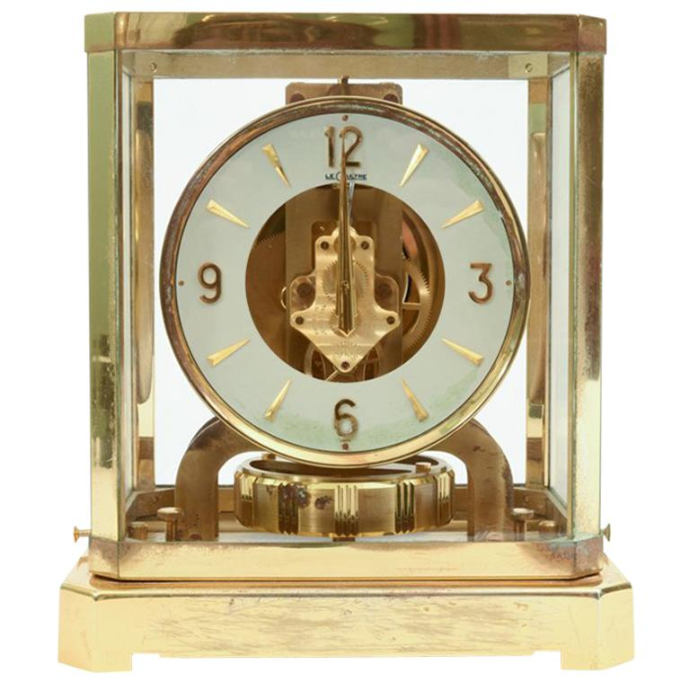 Case Glass / Brass Jaeger Le Coultre Desk Clock