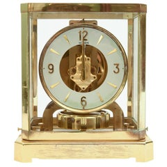 Case Glass / Brass Jaeger Le Coultre Desk Clock