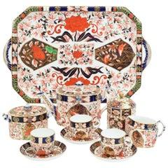 Antique England Royal Crown Derby Imari Porcelain Tea Service