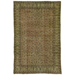 Vintage Overdyed Carpet, Green Tones