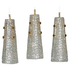 Set of Three Large J.T. Kalmar Lights Textured Murano Glass Brass Cone Shade