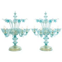 Gold Flecks Design with Brass Base Venetian Pair of Flambeau Table Lamp