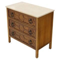 Mid-Century Modern Marble Travertine Top 3 Decor Drawers Bachelor Chest Dresser