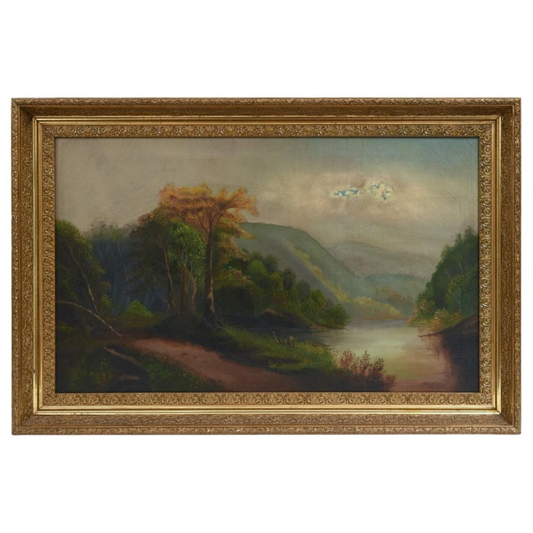 Oil on Canvas Hudson Valley River School Painting For Sale