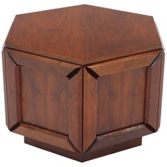 Solid Oiled Walnut Heavy Face Sides Hexagon Shape Side Center Occasional Table