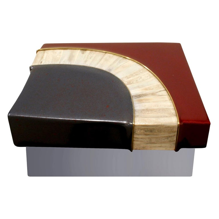 Karl Springer Exceptional Box in Glazierite with Bone, 1980s For Sale