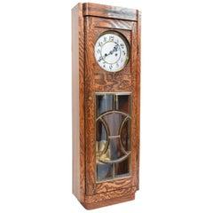 Tiger Oak Case Beveled Glass Trimmed Brass Wall Clock